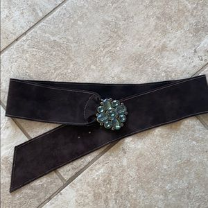 Brown Soft Suede Belt with Stone Buckle.